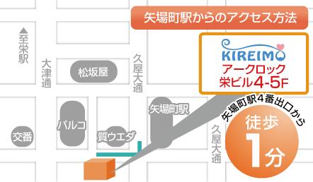 栄店の周辺にある店舗が描かれたイラストマップ