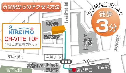 渋谷駅からキレイモ渋谷宮益坂店までのアクセスルートが書かれたマップ