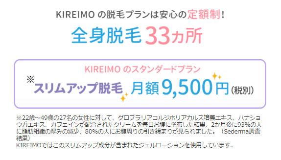 kireimoは月額制で全身脱毛プラン!