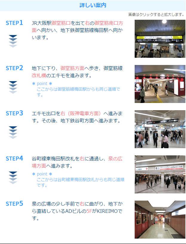 キレイモ梅田店アクセス