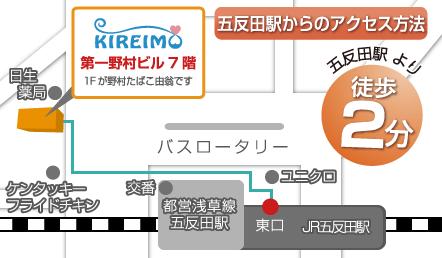 周辺のお店や立地が描かれたキレイモ五反田店のアクセスマップ