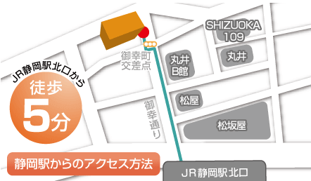 キレイモ静岡Denbill店の周辺にある店舗が紹介されたイラストの地図