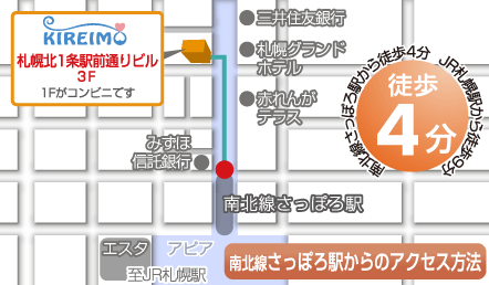 キレイモ札幌駅前店アクセス